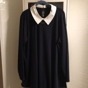 Collar attached navy blue tunic